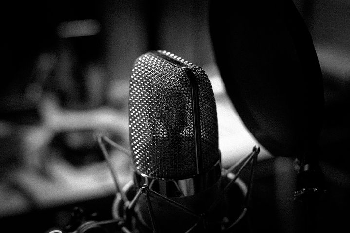 black and white microphone